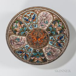 Russian .875 Silver and Cloisonne Enamel Dish