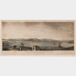 Watercolor Engraving A View of the City of Boston the Capital of New England in North America