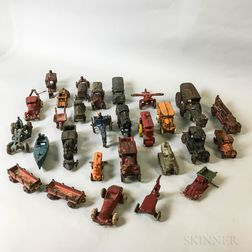Twenty-eight Painted Cast Iron Cars, Trucks, and Other Vehicles.     Estimate $200-300