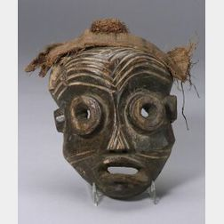 African Carved Wood Mask, Doll, Ibo Head and a Chiefs Knife and Case.