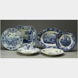 Six Wedgwood Blue Transfer Printed Pearlware Dishes