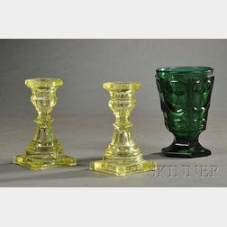 Pressed Glass Spill Holder and a Pair of Small Candlesticks