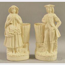 Pair of Bennington Parian Figural Vases