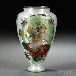Art Nouveau Guilloche Enameled Portrait Vase