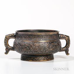 Parcel-gilt Copper Repousse Censer