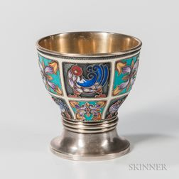 Russian .916 Silver and Cloisonne Enamel Vodka Cup