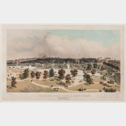 Lithograph Print View of the Public Garden & Boston Common from Arlington St.