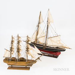 Two Carved and Painted Wood Ship's Models
