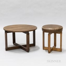 Low Round Walnut Table and a Leather and Oak Stool