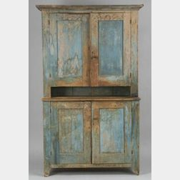 Blue Painted Butternut Step-back Cupboard
