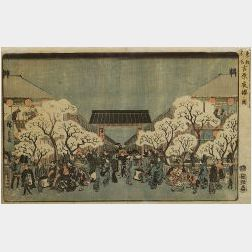 Hiroshige:  Entrance to a Marketplace and Cherry Garden