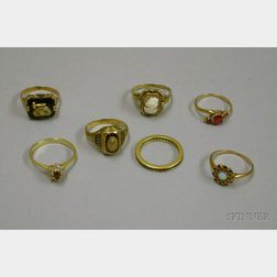 Seven Gold and Gem-set Rings