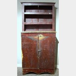 Brown-painted Country Step-back Cupboard