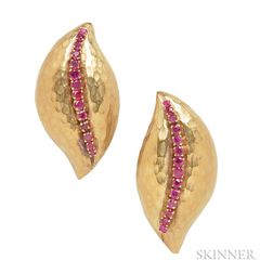 18kt Gold and Ruby Earclips, Forley