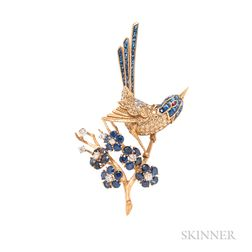 Diamond and Sapphire Brooch