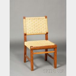 Four Woven Fiber Upholstered Wooden Dining Chairs