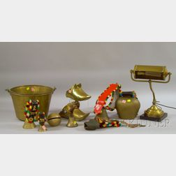 Seven Country and Ethnographic Brass and Metal Bells, a Brass Kettle, Two Brass Stirrups, and a Desk Lamp.e...