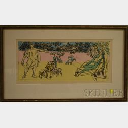 Jacques Villon (French, 1875-1963)      Two Men and Cattle.