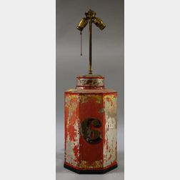"""Gilt and Red-painted Octagonal Tin Retail """"6"""" Tea Canister/Table Lamp"""