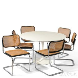 Saarinen Dining Table and Six Marcel Breuer Chairs
