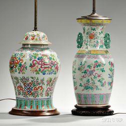 Two Famille Rose Porcelain Vase Lamps