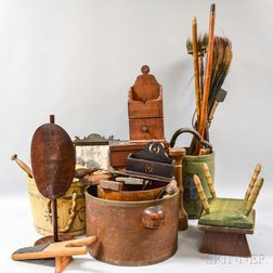 Group of Carved and Turned Wood Domestic Items