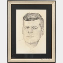 Large Framed Pencil Drawing Portrait of John F. Kennedy