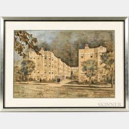 Joseph F. Booton (American, 20th Century)      Architectural Watercolor Rendering