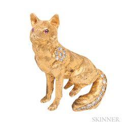14kt Gold and Diamond Fox Brooch
