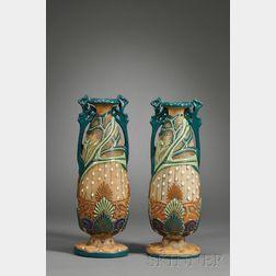 Pair of Amphora Art Pottery Vases