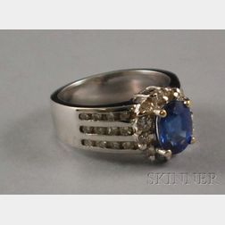 18kt White Gold, Diamond, and Blue Gemstone Ring