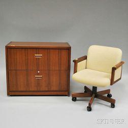 Modern Upholstered Swivel Desk Chair and a Biltrite Walnut Veneer Two-drawer   File Cabinet