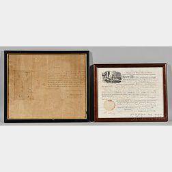 Monroe, James (1758-1831) Signed Land Deed, 11 June 1821.