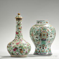 Famille Verte Jar and Famille Rose Covered Vase