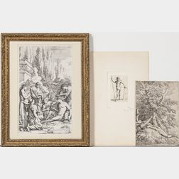 Salvator Rosa (Italian, 1615-1673)  Three Etchings: The Genius of Salvator Rosa, Saint William of Maleval, hands tied with...