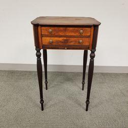 Federal-style Satinwood and Rosewood Veneer Two-drawer Worktable