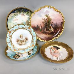 Five Hand-painted Porcelain Dishes