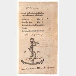 Lactantius, Lucius Coelius Firmianus (c. 250-c. 325) Divinarum institutionum Libri septem. De Ira Dei Liber I. De opificio Dei, Liber I