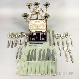 Wallace Sterling Silver Partial Flatware Service and Peruvian Sterling Silver Five-light Candelabra
