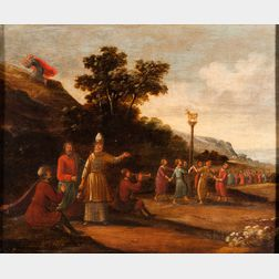 Dutch School, 17th/18th Century      Moses Receives the Tablets While the People Dance Around the Golden Calf