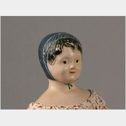 Early Papier-mache Doll with Molded Blue Bonnet
