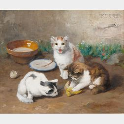 Alfred Arthur Brunel de Neuville (French, 1851-1941)      Playful Kittens