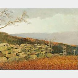 Eric Sloane  (American, 1905-1985)      The Stone Wall