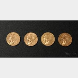 Four United States Indian Head/Quarter Eagle Two and One Half Dollar Gold Coins