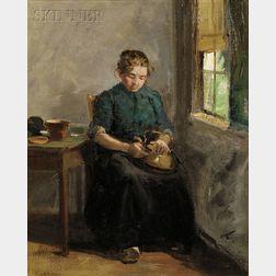 Charles Paul Gruppe (Canadian/American, 1860-1940)      Woman Polishing a Kettle