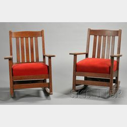 Pair of L. and J.G. Stickley Rocking Chairs