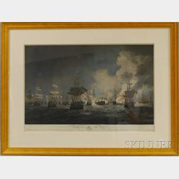 Framed Hand-colored Engraving Battle of the Nile