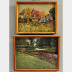 George Arthur Hays (American, 1854-1934)      Two Framed Landscapes: Barn in Autumn