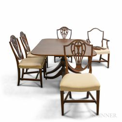 Federal-style Mahogany Double-pedestal Dining Table and Five Shield-back Chairs