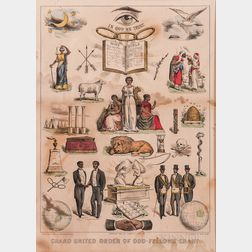 "Currier & Ives Lithograph ""Grand United Order of Odd-Fellows Chart,"""